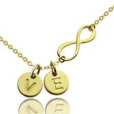 initials jewelry gift for infinity necklace with disc initial charm in gold
