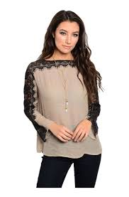 long sleeve blouse w lace trim u0026 open back u2013 bodilove fashion store