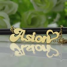 Baby Name Necklace Gold Custom Name Necklace In Gold With Heart
