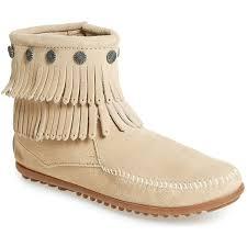 minnetonka 696 double fringe side zip suede boot stone women u0027s