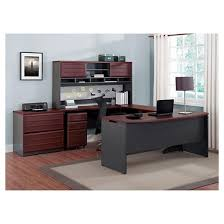 pursuit u shaped desk with hutch bundle cherry gray ameriwood