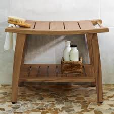 teak shower bench grandin road