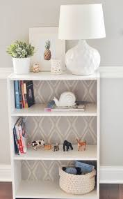 sauder bookcase with glass doors a sauder bookshelf with a patterned wallpaper backing easydiy