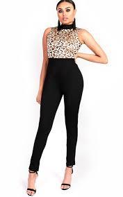 high neck jumpsuit slim leg embroidered high neck jumpsuit in black ikrush