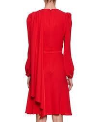 Draped Bodice Dress Alexander Mcqueen Long Sleeve Crepe Draped Bodice Dress Scarlet
