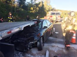car rear ends flatbed truck on i 84 danbury fire danbury ct patch