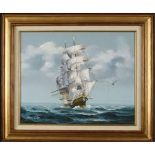 nautical painting amos carr original nautical ship painting vintage frmd
