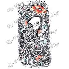 koi fish and lotus half sleeve japanese color design by