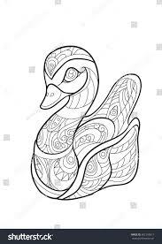 hand draw duck zentangle style stock vector 482130817