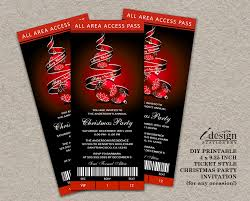 holiday party ticket invitations elegant printable ticket style