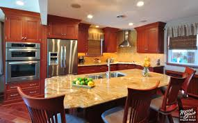 cherry kitchen with granite island design ideas remodeling morris