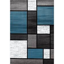 Blue And Grey Area Rug Blue Black White Grey Polypropylene Contemporary Modern Boxes Area