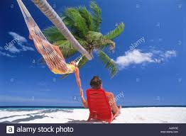 couple chilling out in hammock and chair under palm tree and sunny