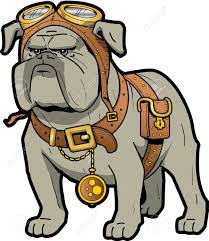 cool tough steampunk bulldog with goggles and pocket watch royalty