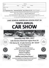 Map Of Lake Geneva Wi American Legion 10th Annual Car Show Wisconsin Rod Radio