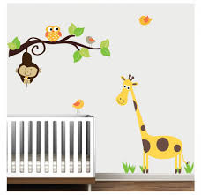 kids room interior wall decoration with kid wall decals for large size of color wall decal sticker decor design idea monkey owl giraffe bird tree wall