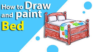 Drawing Of A Bed Learn How To Draw A Bed Step By Step Kids Drawing Lesson 12