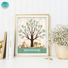 thumbprint guestbook printable sign woodland baby shower