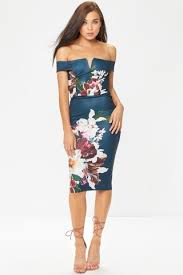 discount tory blue floral bardot midi dress bodycon dresses women
