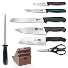 kitchen knives victorinox victorinox fibrox pro 13 knife set w swivel block on sale