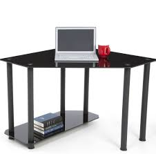 corner computer desk glass furniture cheap simple black glass corner desk for laptop black