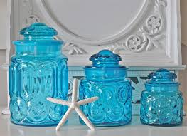 furniture clear blue glass kitchen canisters for pretty
