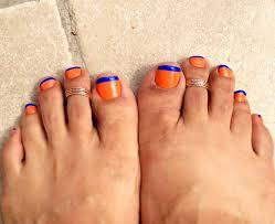 nail art orange with blue tips toe nails florida gators nail