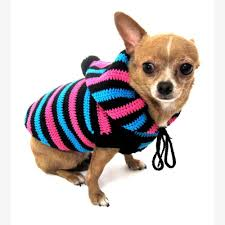 chihuahua sweaters hoodie cotton unisex pet clothing stripes black blue pink