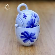 Lotus Flower Tea - taiwan tea crafts solo tea cup with hand painted lotus flower design