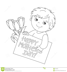 coloring page outline of boy with card for mother u0027s day stock