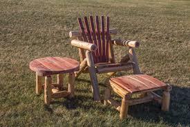 Outdoor Adirondack Chairs Red Cedar Log Outdoor Adirondack Chair Sset