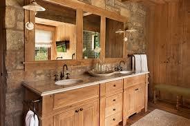 rustic bathroom storage include towels in the wooden bathroom