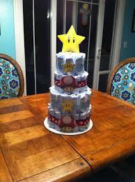 shawnie baby shower mario diaper cake my cakes pinterest