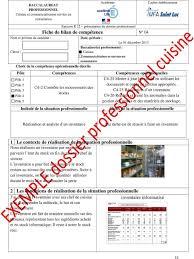 la cuisine professionnelle pdf dossier professionnel pdf toute fiche bilan de compétences bac pro