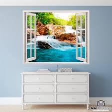 adesivi murali primavera e cascata adesivi murali finestre wall sticker window on a landscape of a spring and waterfall a trompe l oeil that simulates a window open on your wall