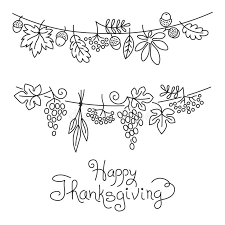 doodle thanksgiving decorative garland freehand stock vector