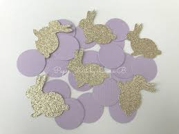 bunny decorations bunny party confetti in lavender and gold glitter for 1st birthday