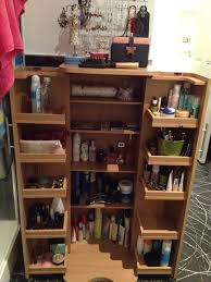 repurpose cd cabinet into makeup toiletries organiser make up