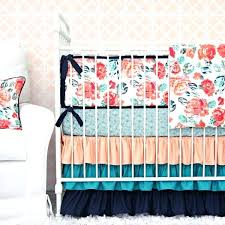 Teal Crib Bedding Coral Colored Baby Bedding Coral And Blue Nursery Bedding
