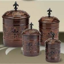 fleur de lis kitchen canisters copper canister sets foter