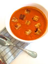roasted tomato soup with grilled cheese croutons three hungry boys