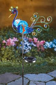 solar led peacock metal garden stake garden stakes peacocks and