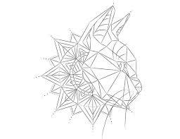 2017 trend geometric line geometric cat design