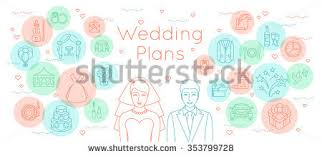 wedding plans wedding plans thin line flat vector stock vector 353799728