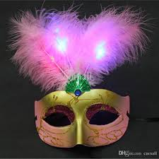 feather masks discount new led light feather party masks handmade venetian