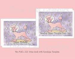 pink poodles with wine birthday cards 2 note cards with