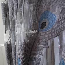 2018 wholesale peacock blue sheer curtains for windows tulle