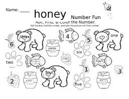 honey bear math fun roll find and color worksheet freebie