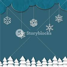 blue background with paper snowflakes and christmas trees royalty