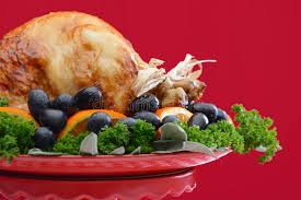 festive theme thanksgiving turkey platter stock